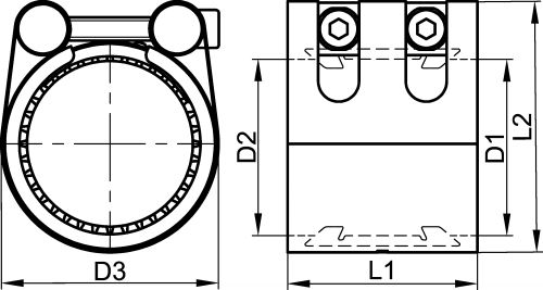 Locking coupling for metal pipes - step grip - w5 joint fpm (Schema)